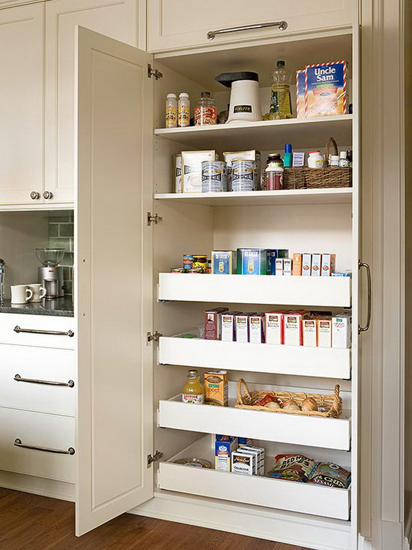 Built In Pantry With Deep shelves on top and Pullout Drawers Below.