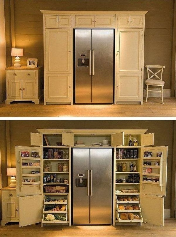 A Fridge Enveloping Pantry.