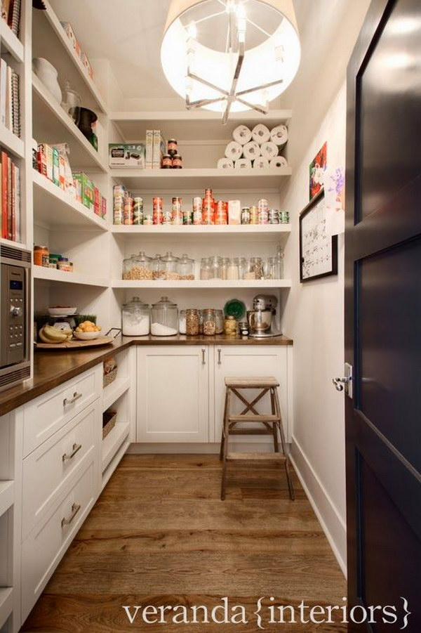 Microwave, Open Shelving, Drawers, Wood Counters in the Pantry.