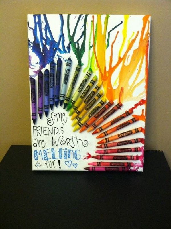 DIY Melted Crayon Art Best Friend Gift.