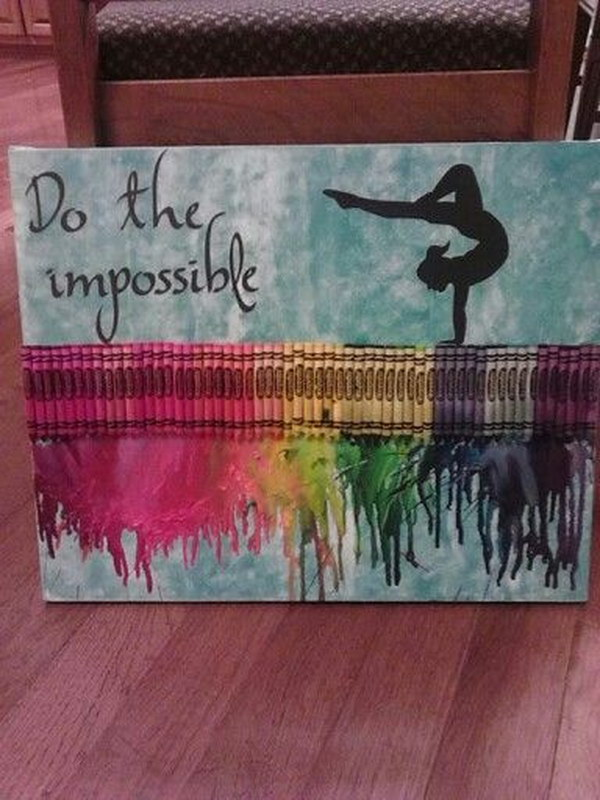 Gymnastics Melted Crayon Art.