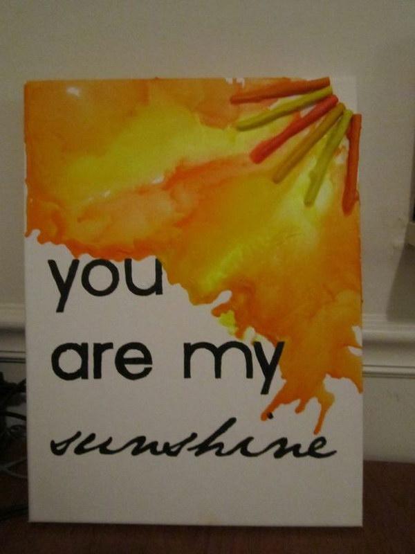 Sunshine Melted Crayon Art.