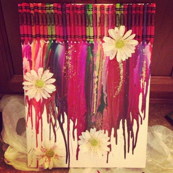 Melted Crayon Art with Flower and Glitter.