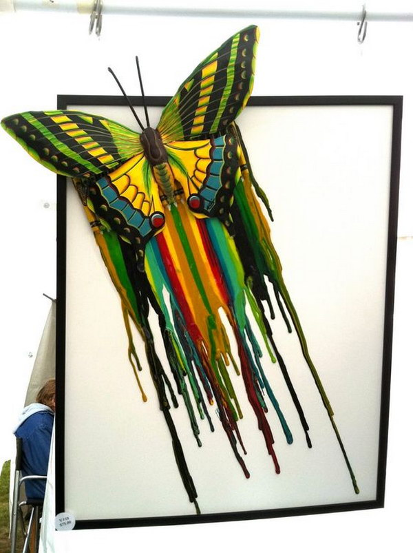 Butterfly Melted Crayon Art.