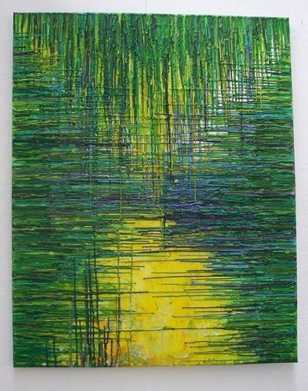 Green Dripped Wax Crayons Melted Crayon Art.