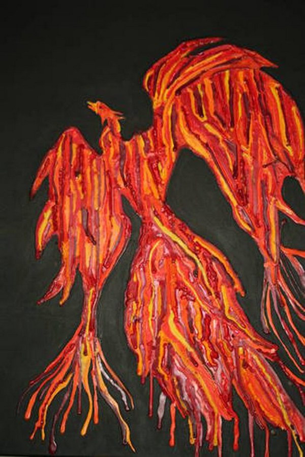 Phoenix Melted Crayon Art.