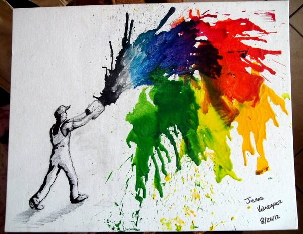 Painting Melted Crayon Art.