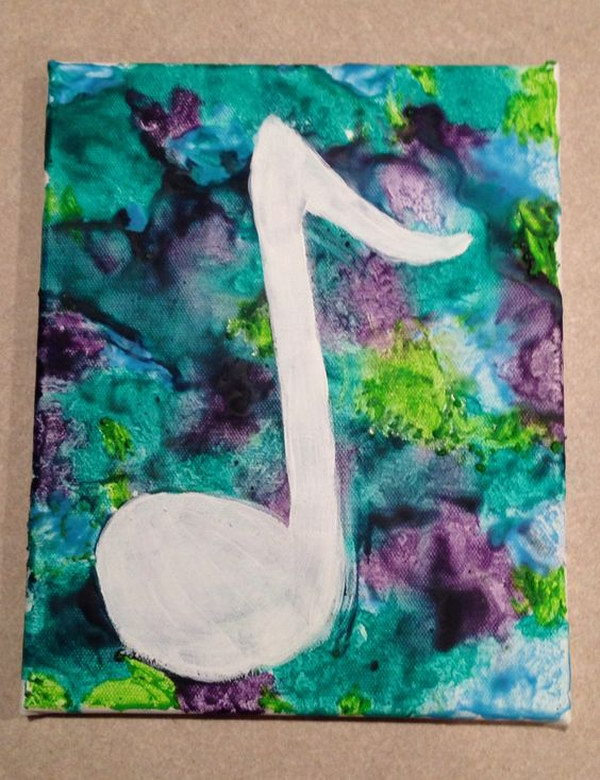 Melted Crayon Art Music Note.