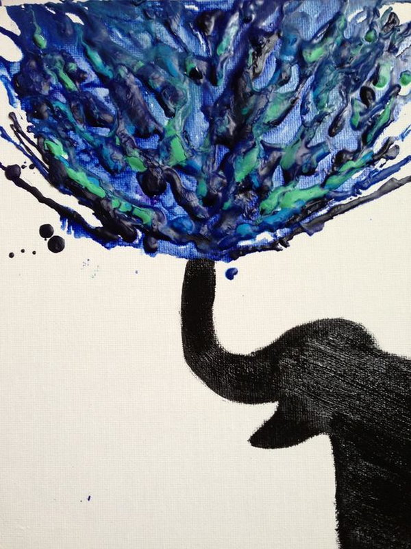 Elephant Crayon Melting Art.