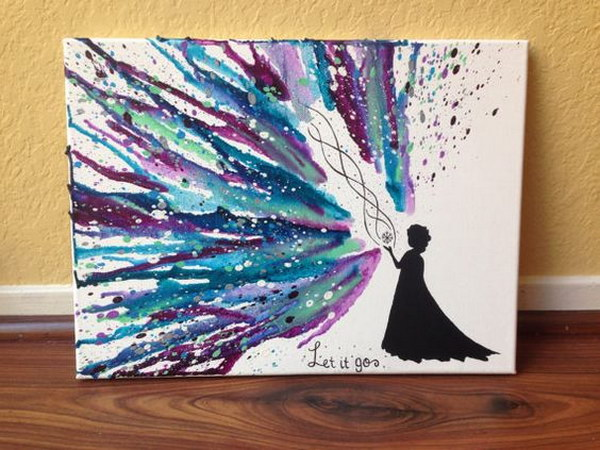 Elsa Silhouette with Let it Go Hand Melted Crayon Art.