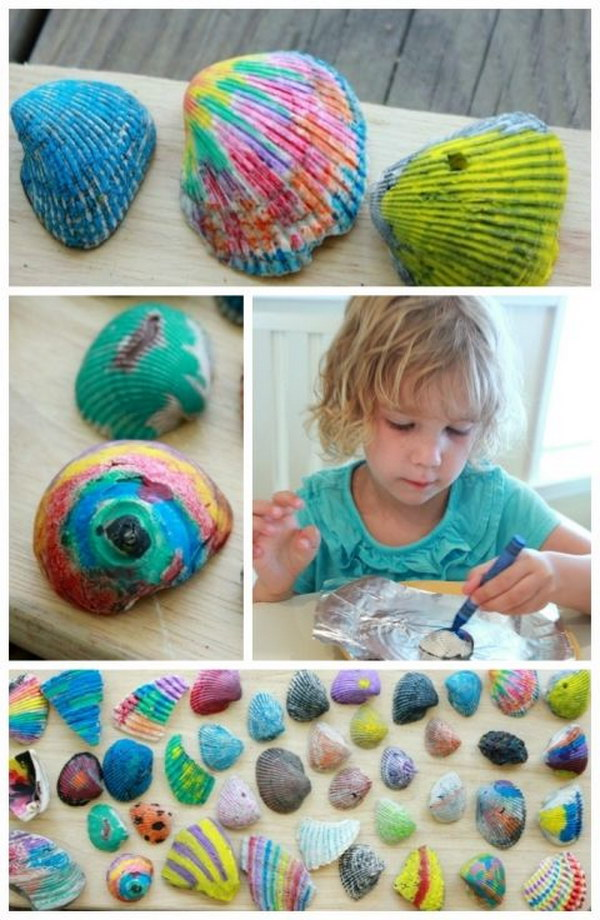 Melted Crayon Sea Shells.