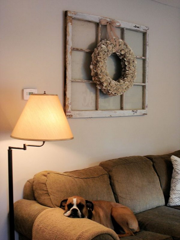 Old Window and Bookpage Wreath Combo for Living Room Decoration.