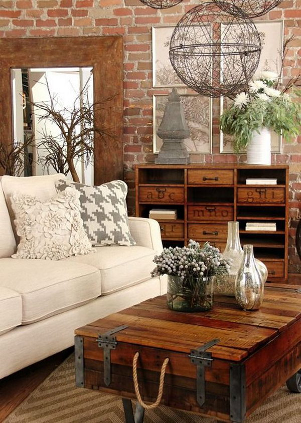Add A Rustic Touch To Your Living Room With Wooden Table And Shlves.