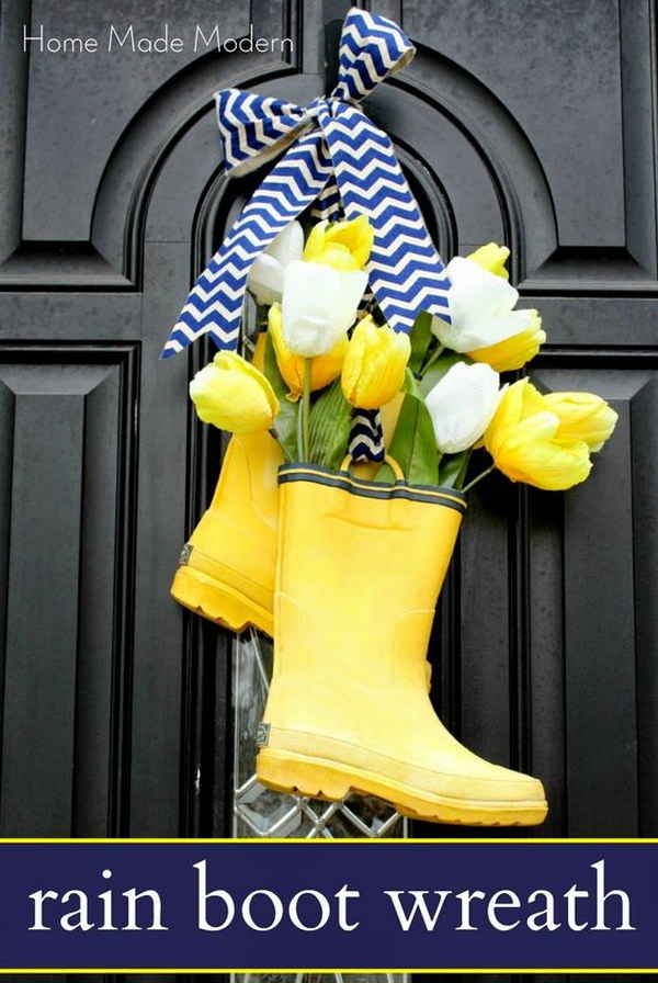 Spring Rain Boot Wreath