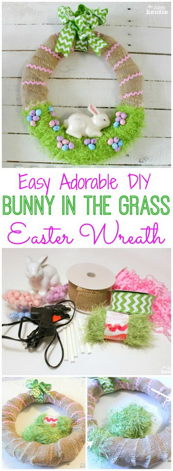 DIY Bunny in the Grass Wreath