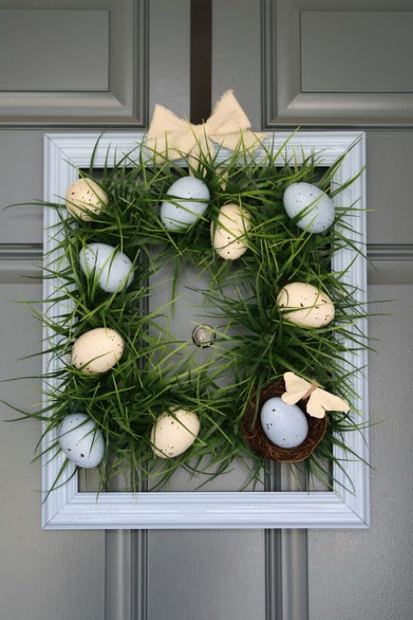 DIY Square Grass Wreath with Easter Eggs