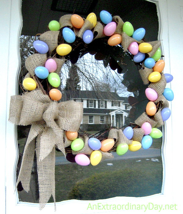 Pastel Eggs and Burlap Grapevine  Easter Wreath