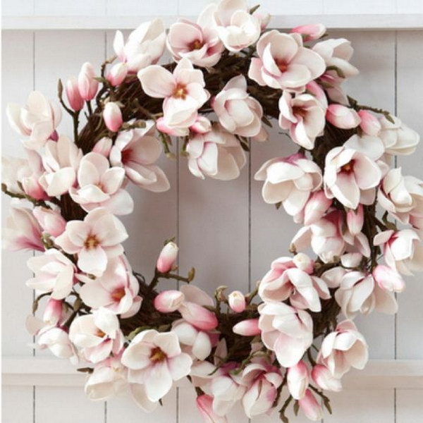 Silk Magnolia Flowers Wreath