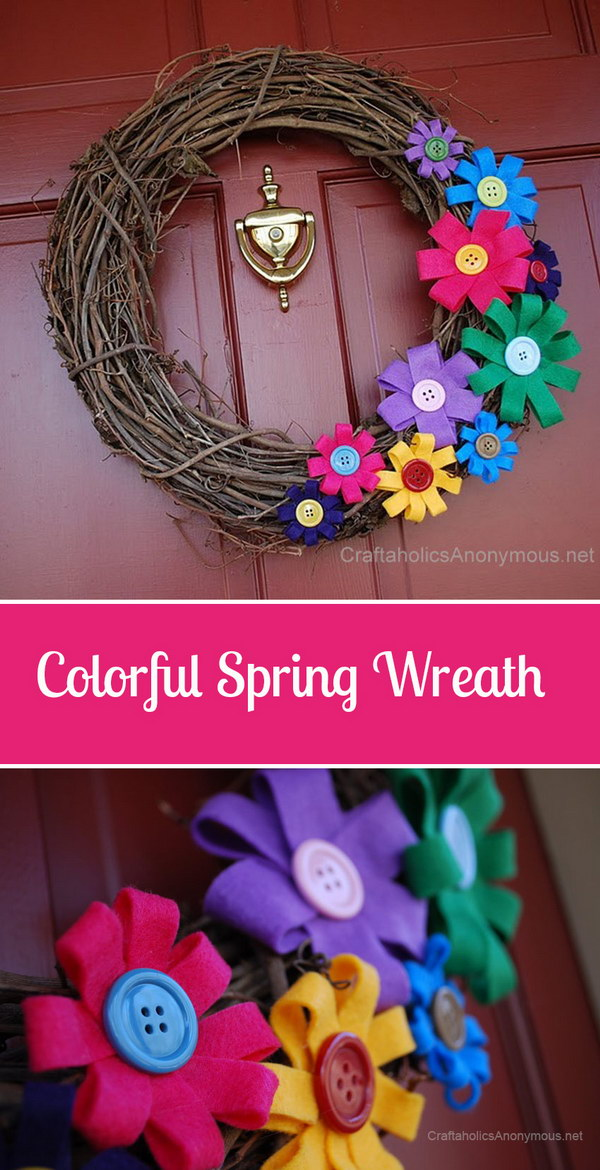 Spring Felt Flowers and Twig Wreath