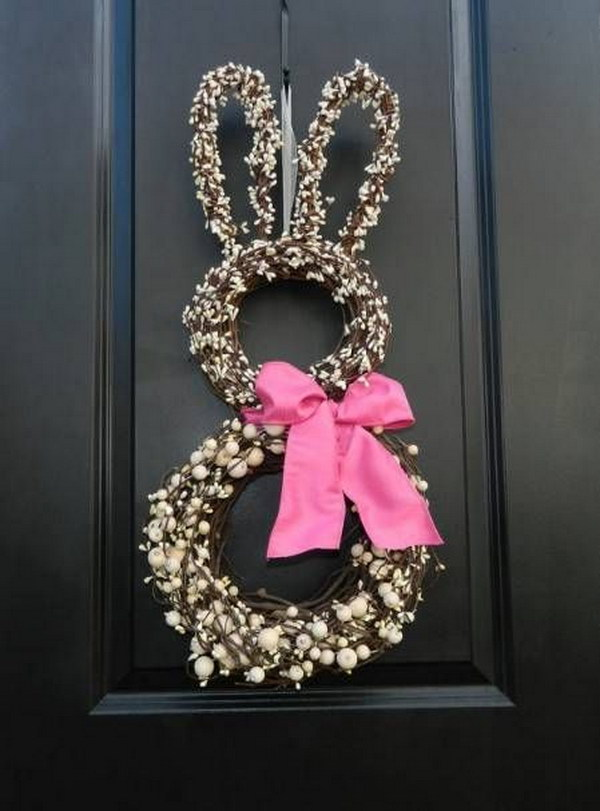 Bunny Shaped Wreath with a Pink Bow