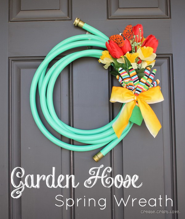 Garden Hose Wreath for Spring