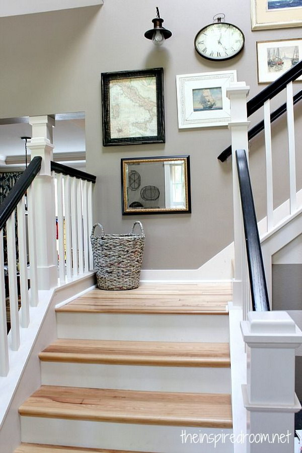 Staircase Wall Galery With Black Painted Oak Handrails.