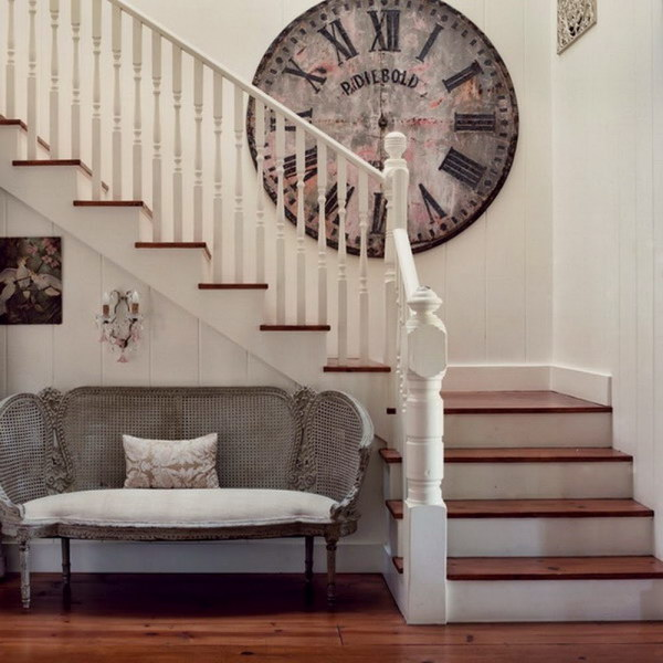Beautiful Wall Decor With Large Vintage Clock.