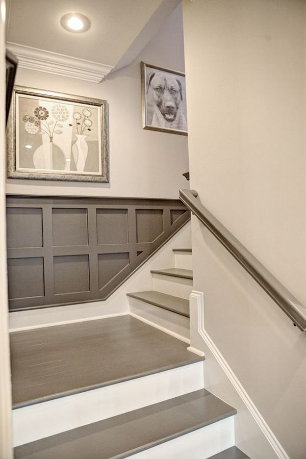 Simple Art Display For Contemporary Staircase.