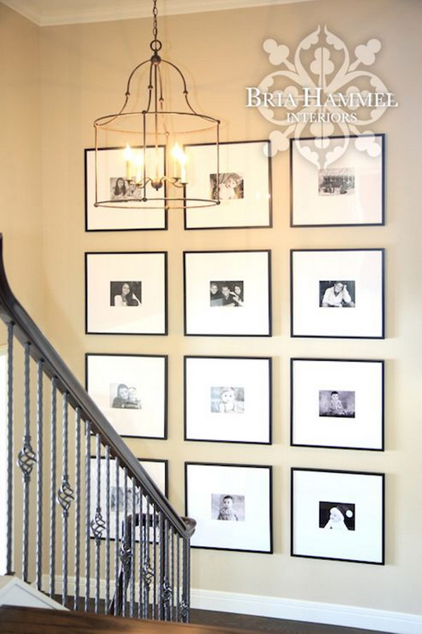 Light Camel Colored Walls With A Black And White Photo Gallery.