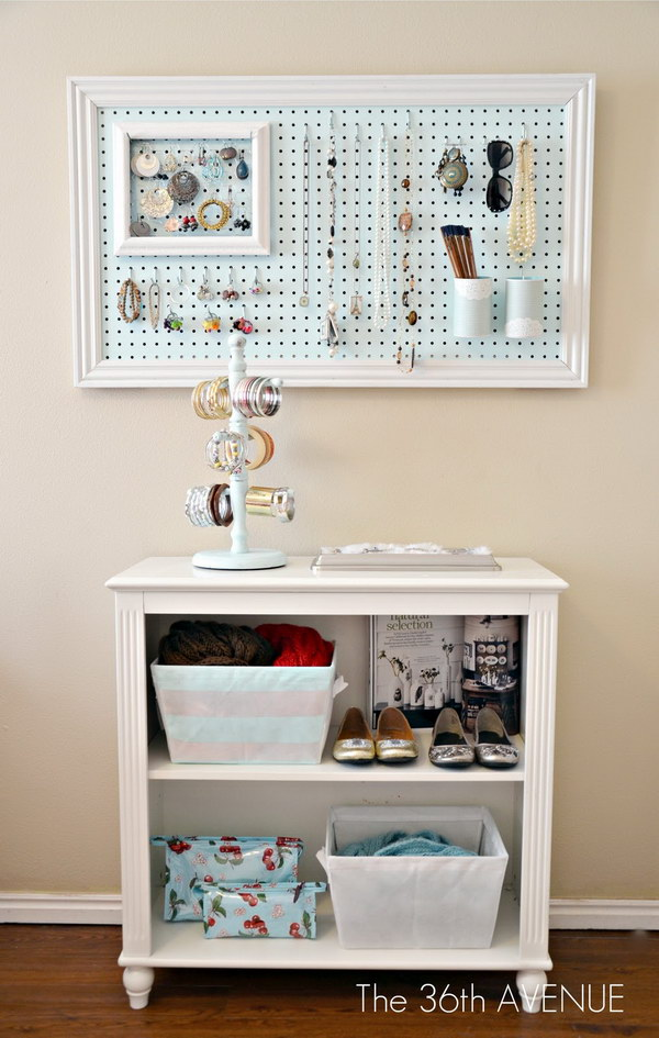 Framed Pegboard Wall Organizer Painted Soft Blue