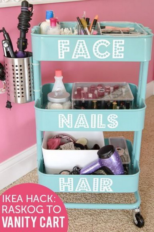 DIY Beauty Station from an Ikea Rolling Cart