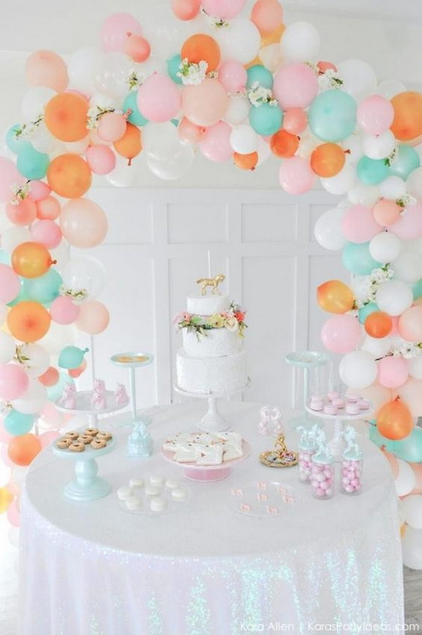 Balloon Arch in Pastel Colors.