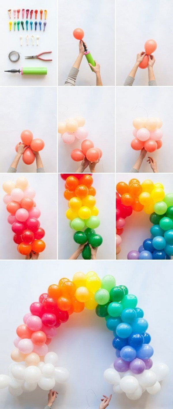 DIY Mini Rainbow Balloon Arch.