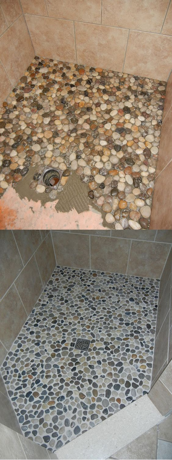Pebbles and Concrete Shower Floor Makeover.