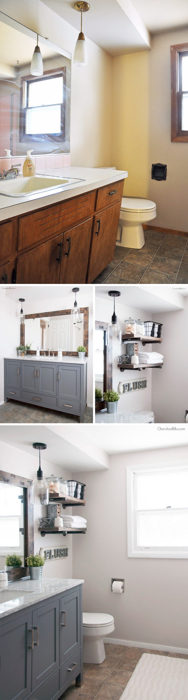 Gorgeous Industrial Farmhouse Bathroom Makeover.