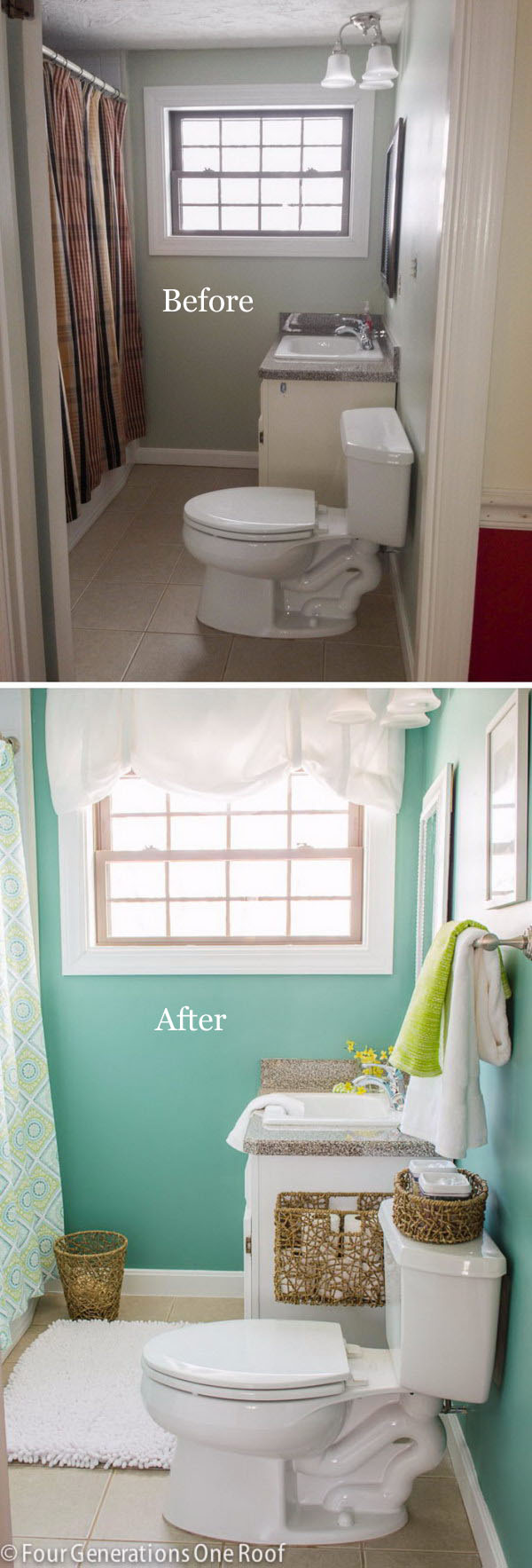 From Brown to Green Spa Bathroom Makeover.