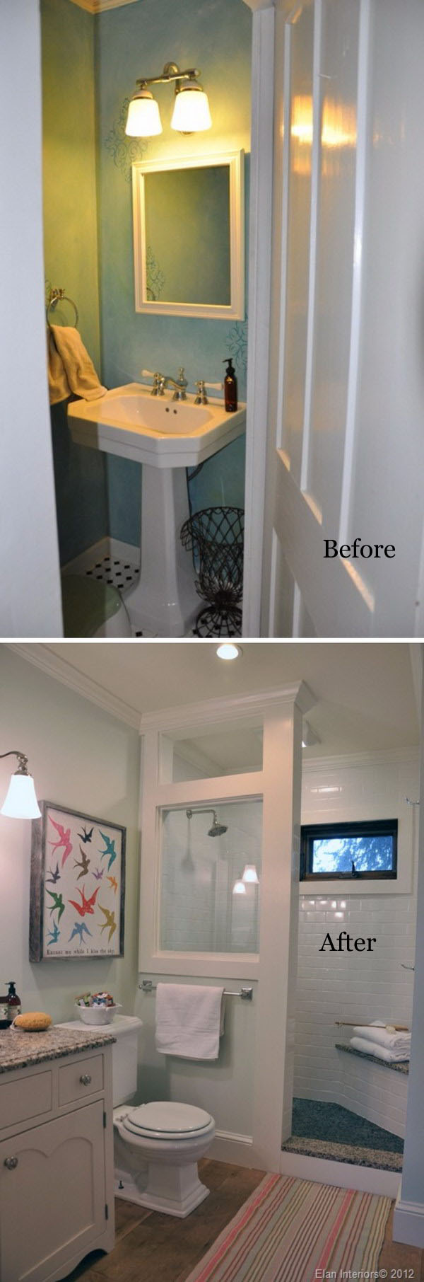 Before and After Farmhouse Bathroom Remodel.