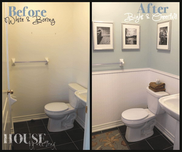 Half Bathroom Makeover with Before and After.