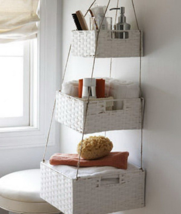 Small Bathroom Organization with Hanging Baskets.