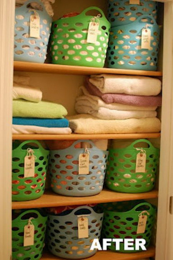 Closet Organizing with Cheap Plastic Baskets.