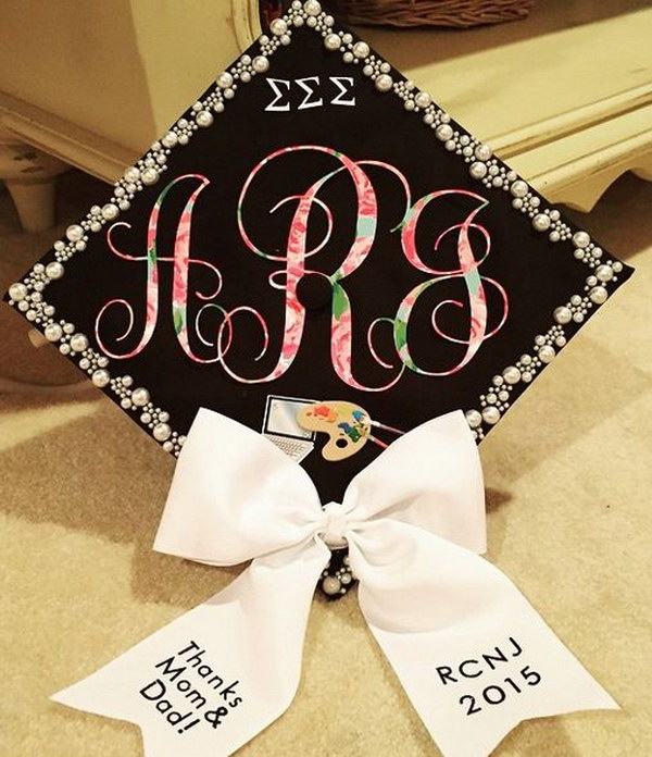 Lilly Pulitzer Grad Cap With A Bow