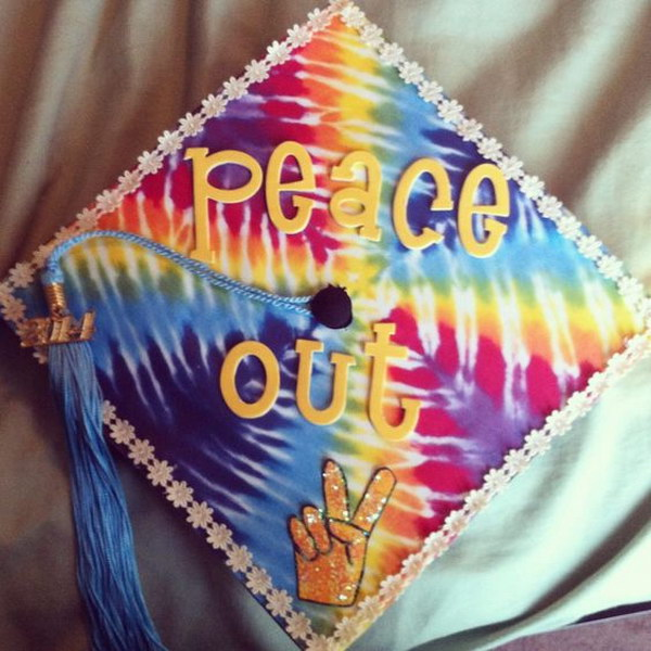 Tie Dye Peace Out Graduation Cap