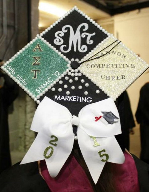 Pearl Decorated Graduation Cap For Girls.