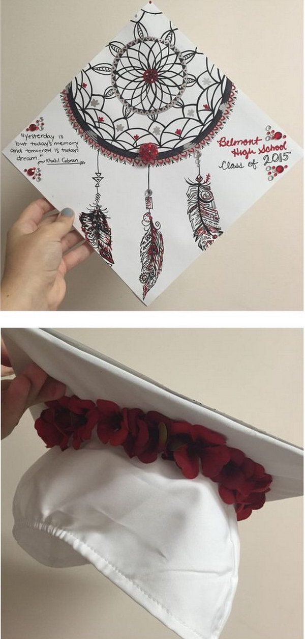 Floral Dream Catcher Graduation Cap