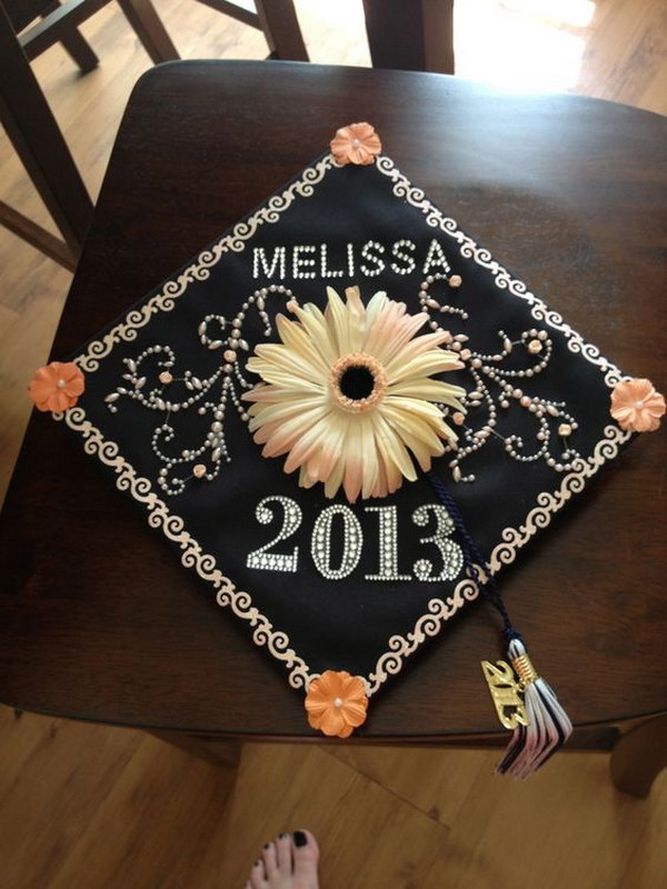 Eye Catching Flower Decorated Graduation Cap
