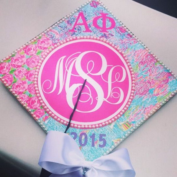 Lilly Pulitzer Inspired Phi Mu Graduation Gap