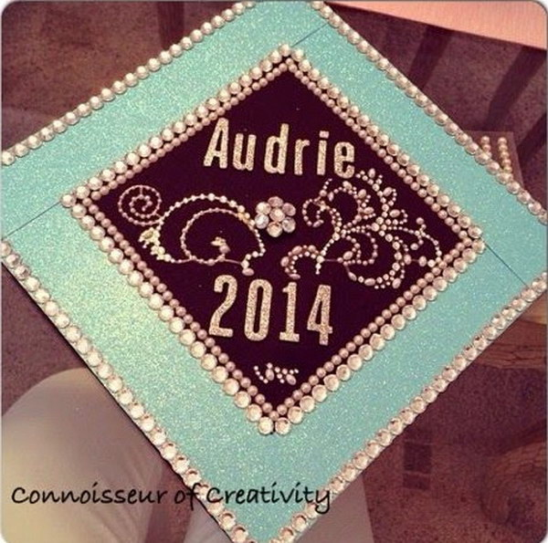 Tiffany Blue Clear Rhinestone Decorated Graduation Gap