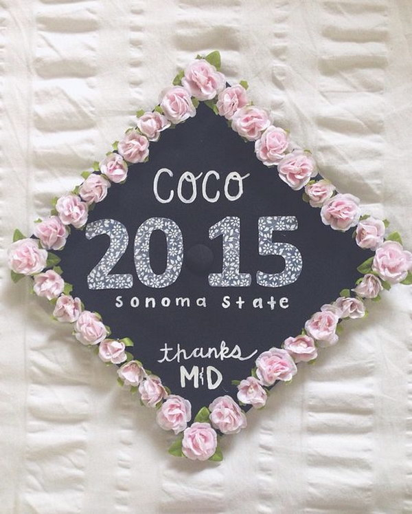 Graduation Cap Decoration Idea With Pink Flower Boarder