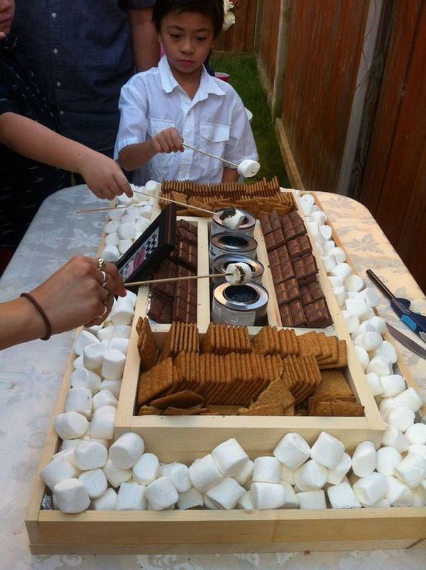 DIY S'mores Bar for a Reception.