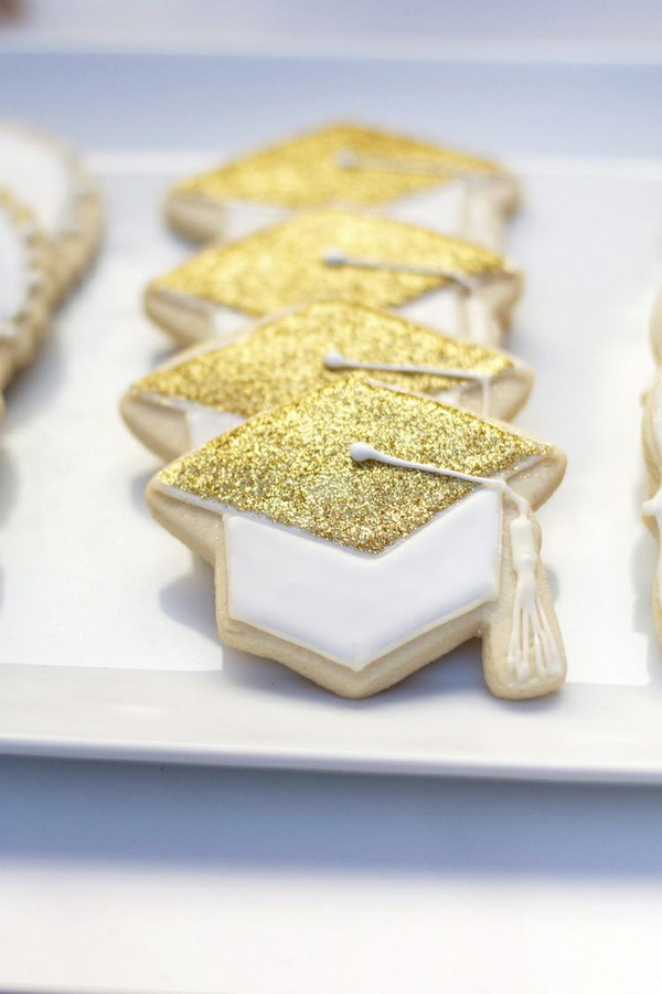 Edible Glitter Graduation Cap Cookies.